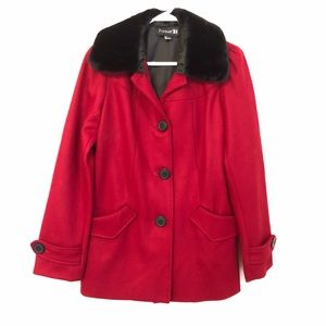 Forever 21 Wool Coat Faux Fur Small